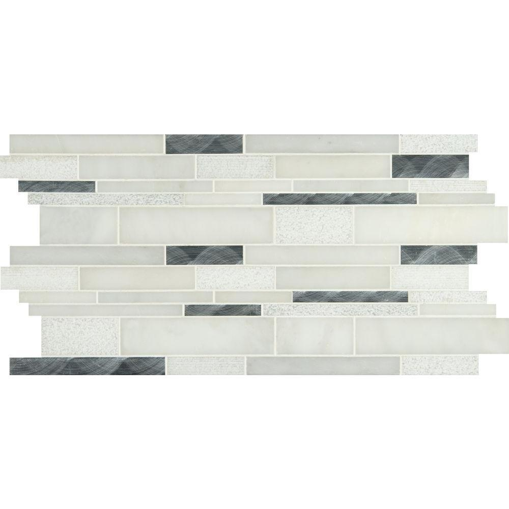 MS International Moderno Blanco Interlocking 12 in. x 18 in. x 8 mm Metal/Stone Blend Mesh-Mounted Mosaic Tile