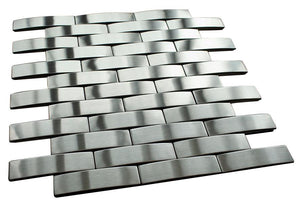 Silver Stainless Steel Subway Style Mosaic Tiles