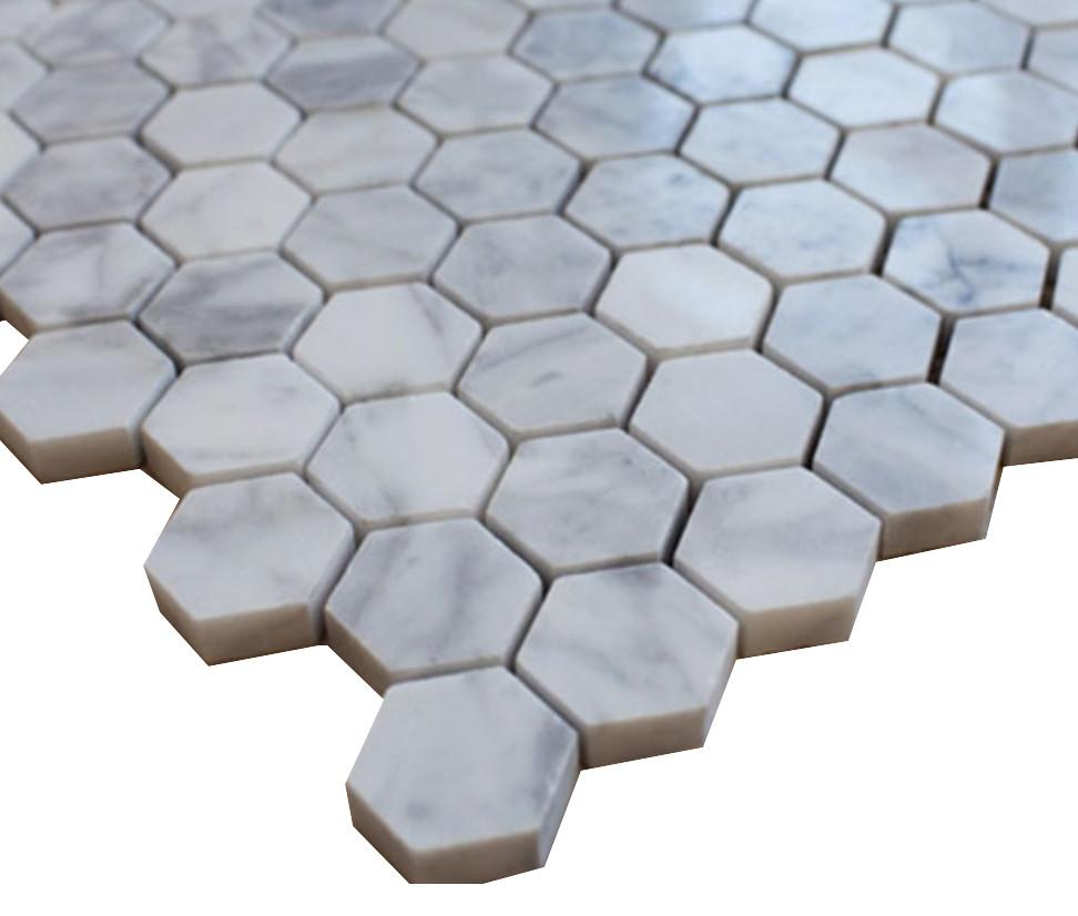 "White Carrara 1"" Hexagon Polished Stone Tile Mosaics"