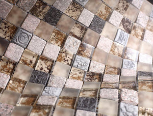 Glossy and Matte Beige Rock Square Stones Porcelain Mosaic Tiles