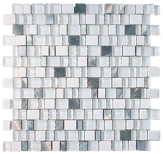 Glossy and Matte White With Aluminum Random Brick Cubes Pattern Glass Mosaic Tiles