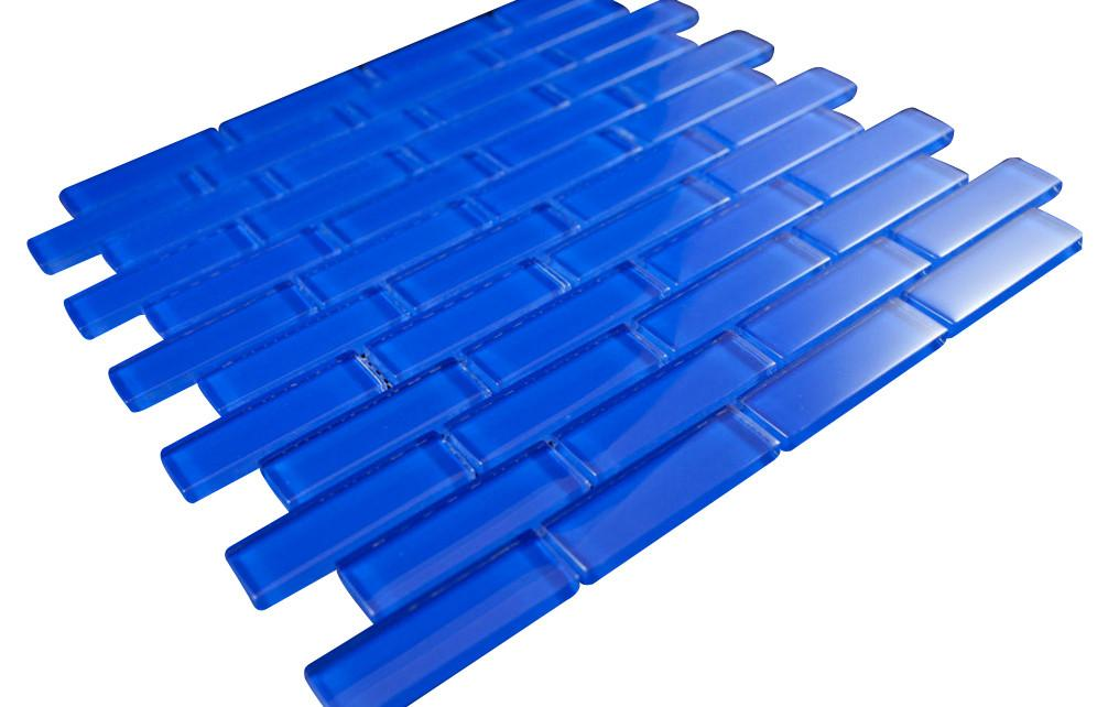 Glossy Electric Blue Subway Glass Mosaic Tile