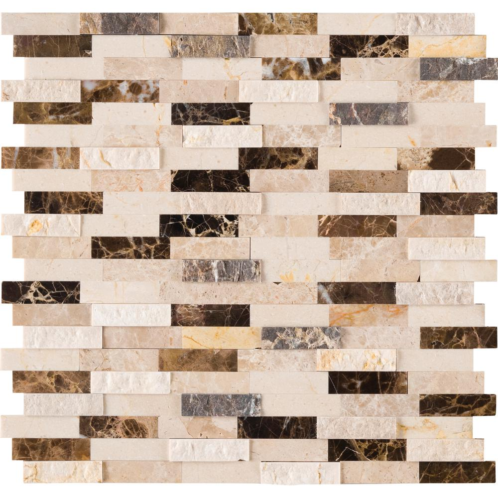 MSI Emperador Blend Splitface Peel and Stick 12 in. x 12 in. x 6mm Marble Mesh-Mounted Mosaic Tile