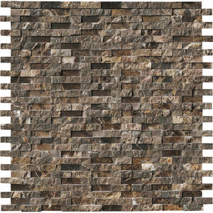 MSI Emperador Splitface 12 in. x 12 in. x 10 mm Marble Mesh-Mounted Mosaic Tile