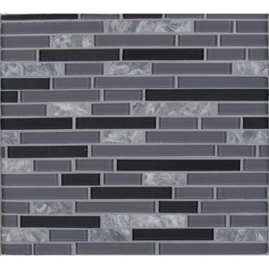 MSI Lorena Grigio Interlocking 12 in. x 12 in. x 4mm Glass Stone Mesh-Mounted Mosaic Tile (19.6 sq. ft. / case)