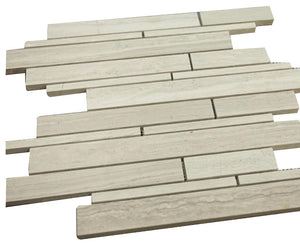 Grey Wooden Look Horizontal Random Pattern Stone Tile Mosaics