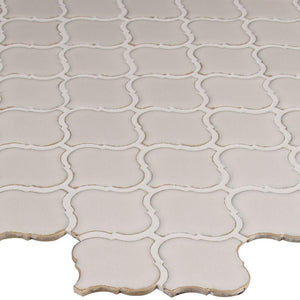 MSI Bianco Arabesque 9.84 in. x 10.63 in. x 6mm Glazed Ceramic Mesh-Mounted Mosaic Tile - Free Shipping