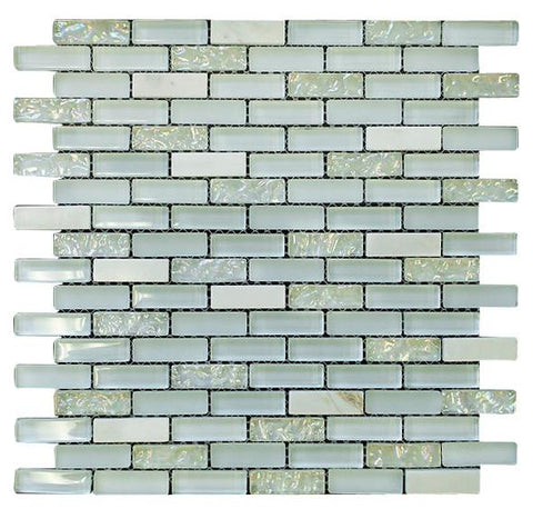 White Crystal Glass Mosaic Tile Brick Pattern (Glossy&Matte)
