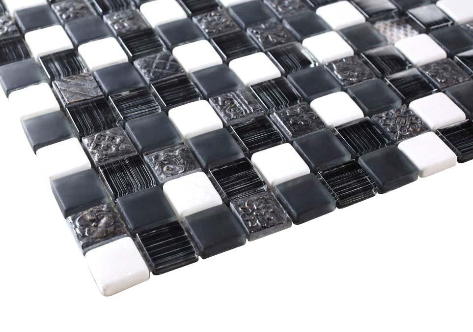 Glossy and Matte Black & White Rock Square Stones Porcelain Mosaic Tiles