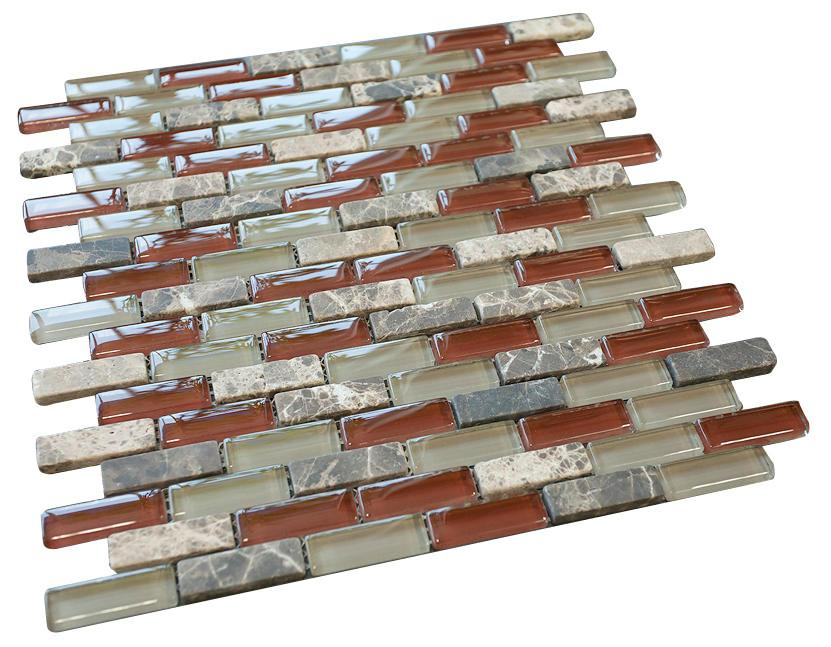 Volcano Red Crystal Glass Mosaic Tile Brick Pattern (Glossy&Matte)