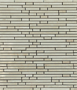 Crema Marfil Staggered Pattern Stone Tile Mosaics  for Bathroom and Kitchen Walls Kitchen Backsplashes (Free Shipping)