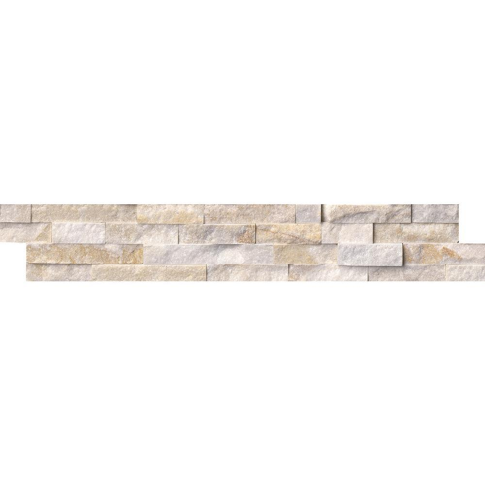 MS International Arctic Golden Splitface Ledger Panel 6 in. x 24 in. Quartzite Wall Tile - Free Shipping