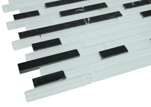 Glossy Piano White&Black Random Brick Pattern Glass Mosaic Tiles