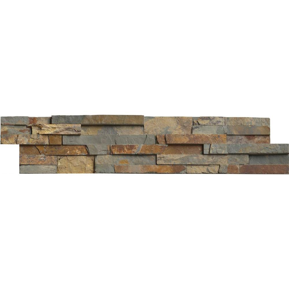 MS International Gold Rush Ledger Panel 6 in. x 24 in. Natural Slate Wall Tile (10 cases / 60 sq. ft. / pallet)