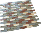 Red,Grey and Pinky Crystal Glass Mosaic Tile Brick Pattern (Glossy&Matte)