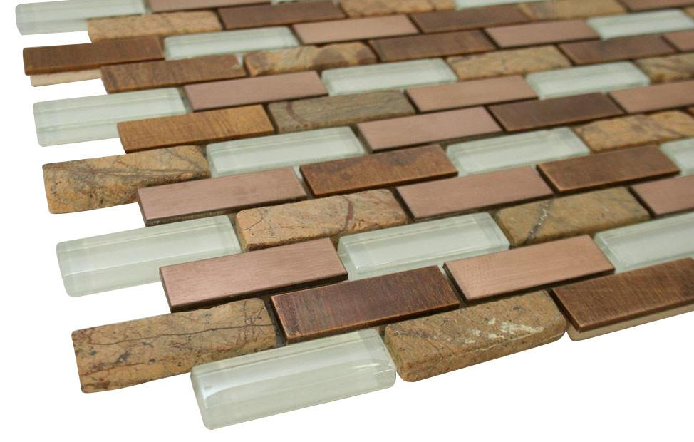 Glossy White & Light and Dark Brown Stone Authentic Glass Mosaic Tiles