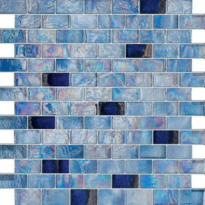 Glossy Blue Wet Look Glass Mosaic Tiles