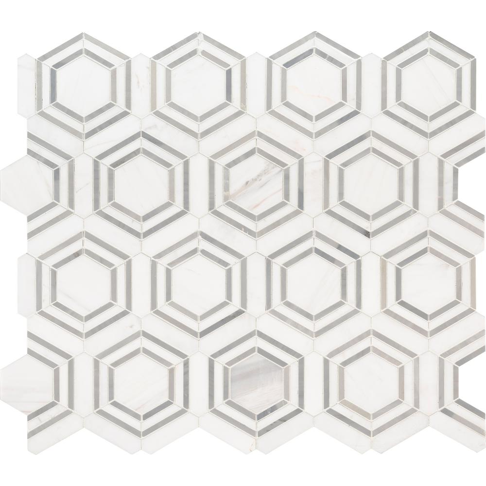 MSI Georama Grigio 13 in. x 11 in. x 10mm Polished Marble Mesh-Mounted Mosaic Tile - Free Shipping