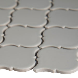 MSI Gray Glossy Arabesque 11.53 in. x 9.65 in. x 10mm Porcelain Mesh-Mounted Mosaic Tile