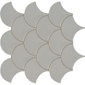 MSI Gray Glossy Fish Scale Porcelain Mesh-Mounted Mosaic Tile - Free Shipping