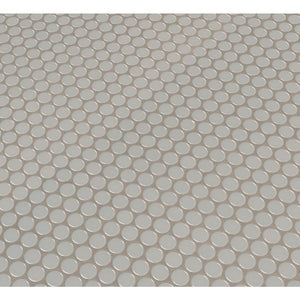 MSI Gray Glossy Penny Round 11.57 in. x 12.4 in. x 10mm Porcelain Mesh-Mounted Mosaic Tile (19.93 sq. ft. / case)