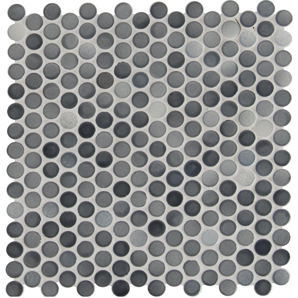 MSI Penny Round Grigio Mix 12.2 in. x 11.3 in. x 6mm Glazed Ceramic Mesh-Mounted Mosaic Tile