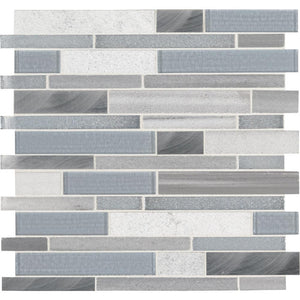 MSI Harlow Interlocking 12 in. x 12 in. x 8mm Glass Stone Metal Mesh-Mounted Mosaic Tile - Free Shipping