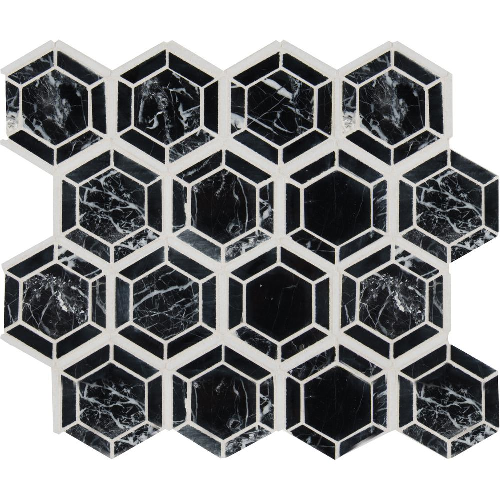 MSI Hexagono Nero 13.25 in. x 11.5 in. x 10 mm Polished Marble Mesh-Mounted Mosaic Tile (10.6 sq. ft. / case) - Free Shipping