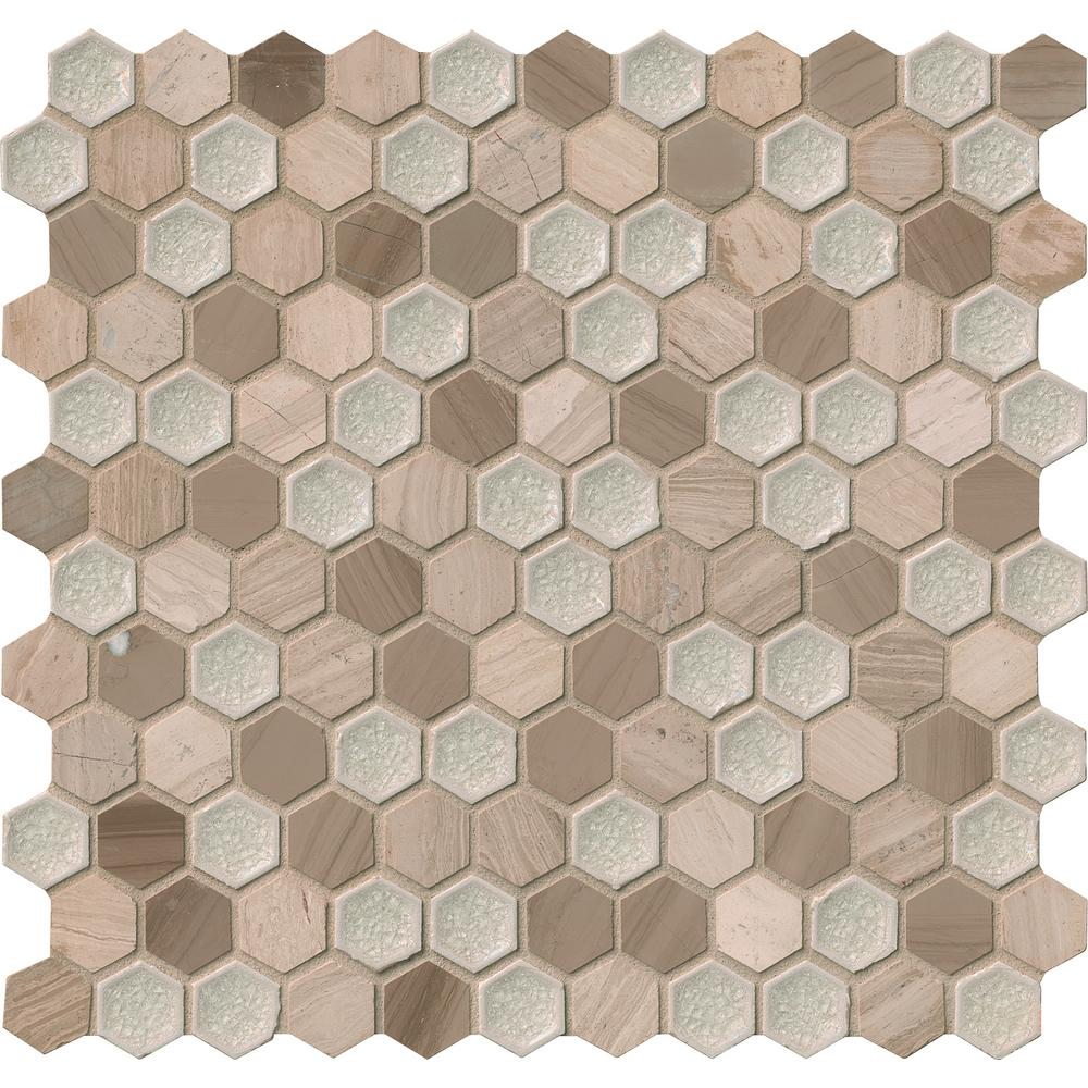 "MS International SMOT-SGLSGG-HEXHAM8MM Hexham Blend 1"" Hexagon Mosaic Tiles, 8mm"