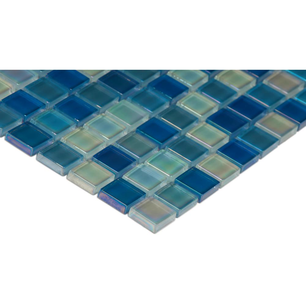 MSI Iridescent Blue 12 in. x 12 in. x 8mm Glass Mesh-Mounted Mosaic Tile (10 sq. ft. / case)