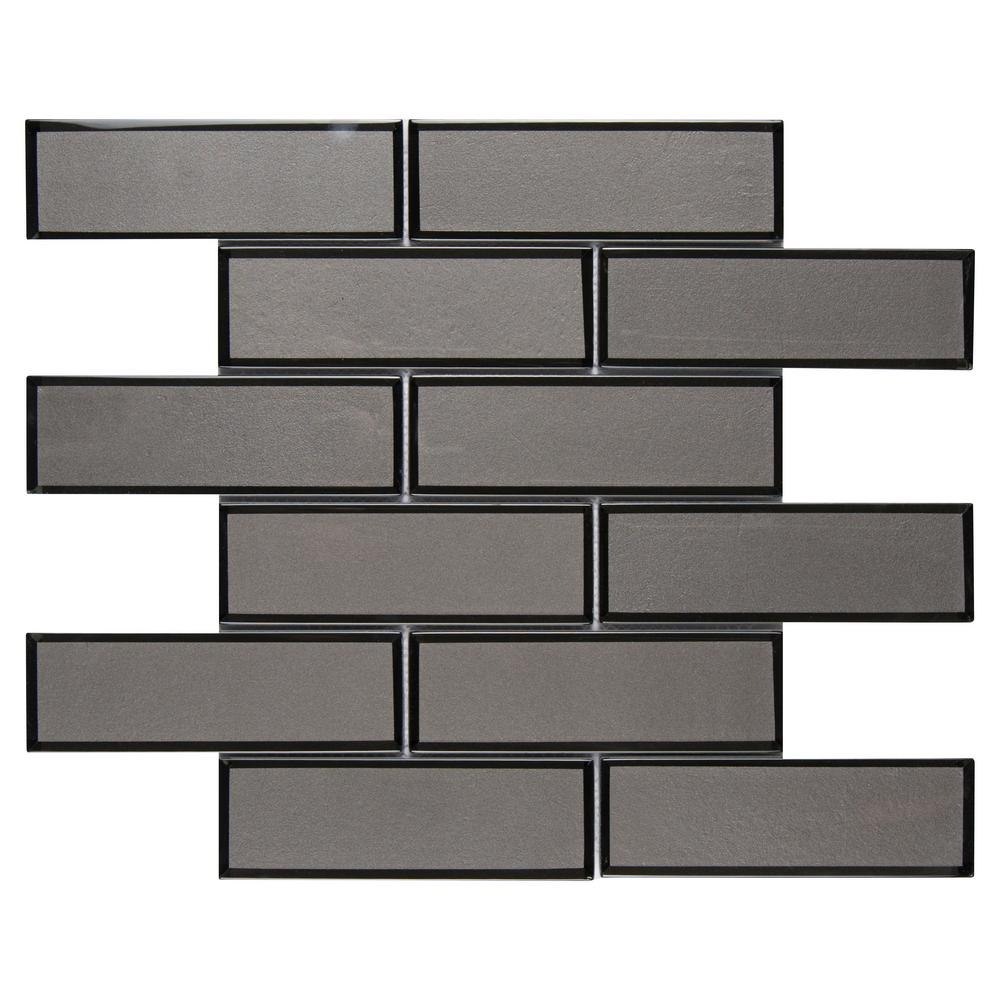 MSI Metallic Gray Bevel Subway 11.73 in. x 11.73 in. x 8mm Glass Mesh-Mounted Mosaic Tile  - free Shipping