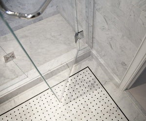 White Carrara Basketweave with Black Dots Stone Tile Mosaics by Vogue Tile