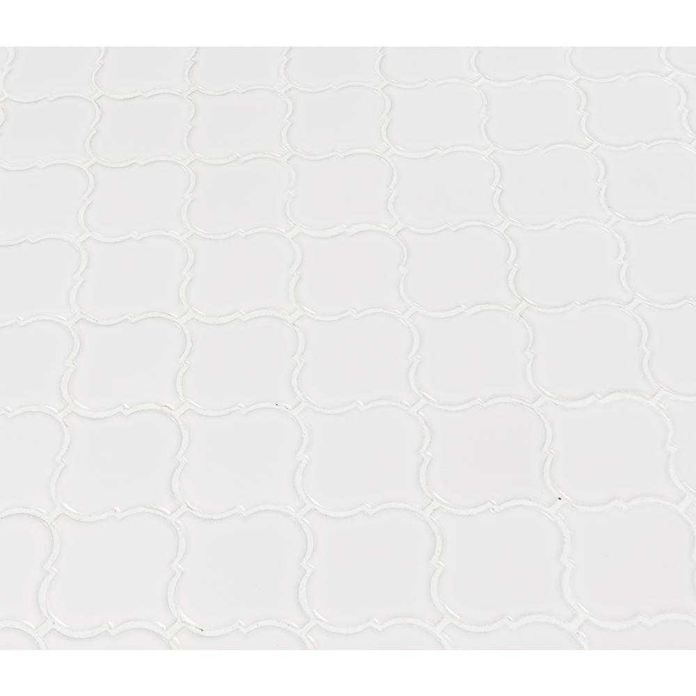 MSI Retro Bianco Arabesque 10.63 in. x 8.84 in. x 6 mm Glazed Porcelain Mesh-Mounted Mosaic Tile - Free Shipping