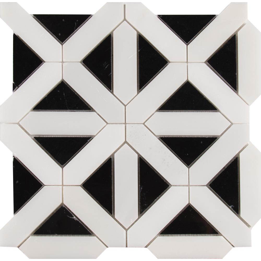 MSI Retro Fretwork 12 in. x 12 in. x 10mm Polished Marble Mesh-Mounted Mosaic Tile (10 sq. ft. / case)