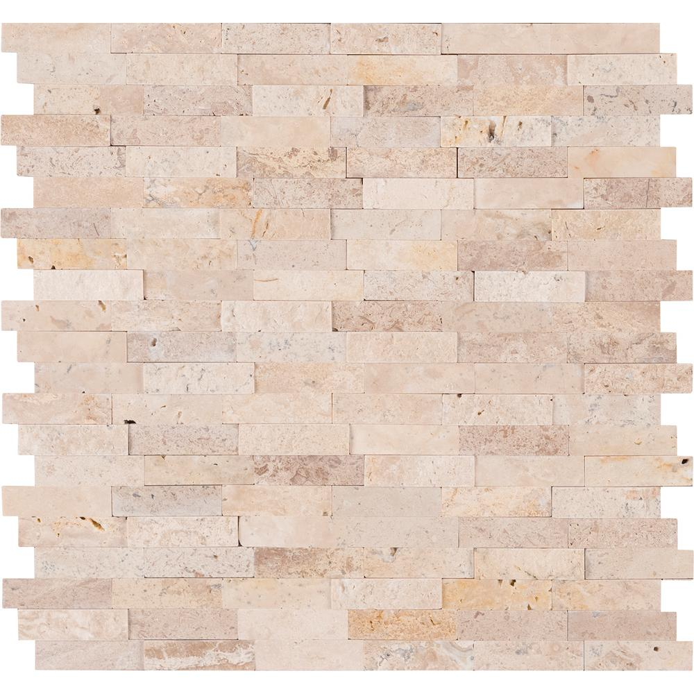 MSI Roman Beige Peel and Stick 12 in. x 12 in. x 6mm Travertine Mesh-Mounted Mosaic Tile