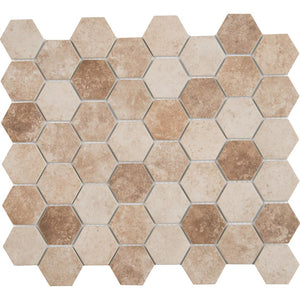 MSI Sandhills Hexagon 12 in. x 12 in. x 6mm Glass Mesh-Mounted Mosaic Tile -  Free Shipping