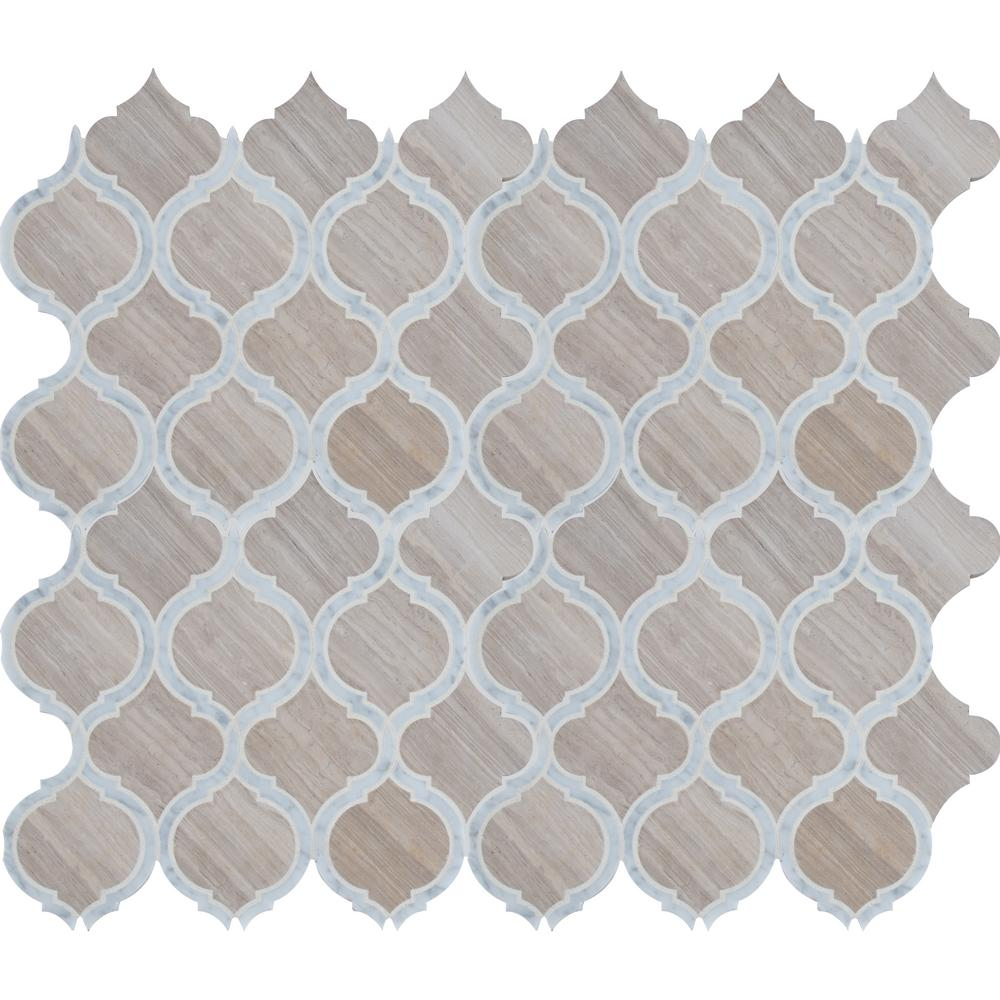 MSI White Quarry Savona 10.89 in. x 12.80 in. x 10mm Honed Marble Mesh-Mounted Mosaic Tile
