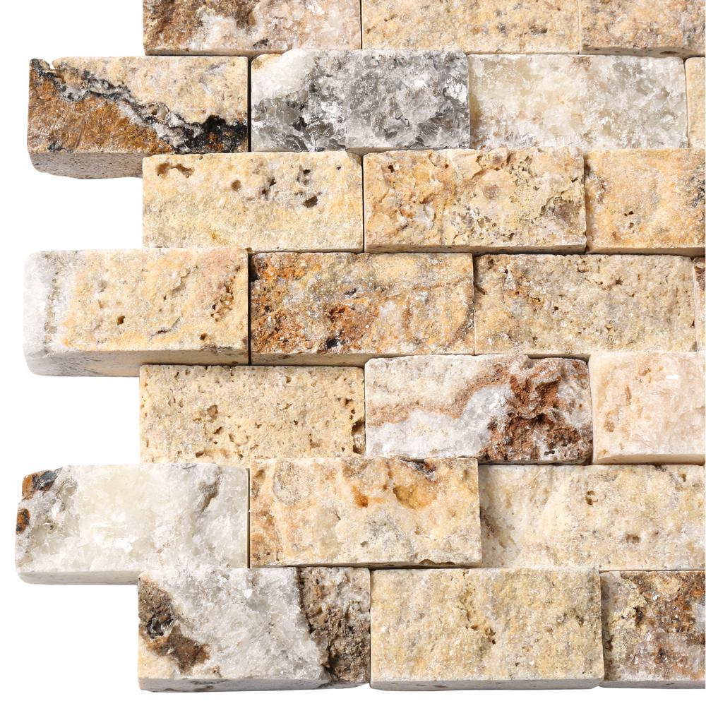 MSI Scabas Split Face 11.4 in. x 10.8 in. x 8mm Travertine Mesh-Mounted Mosaic Wall Tile