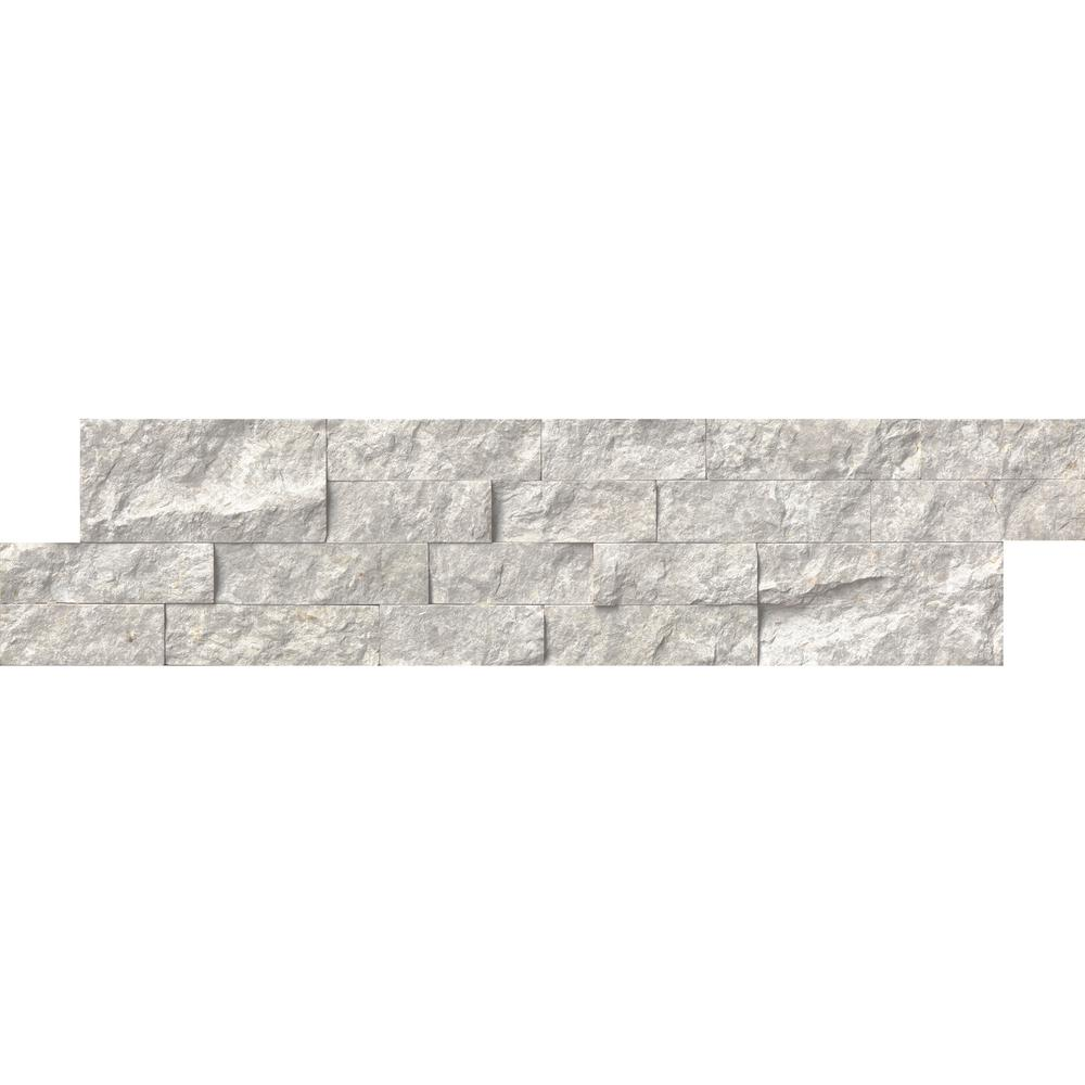 MSI Silver Canyon Splitface Ledger Panel 6 in. x 24 in. Marble Wall Tile