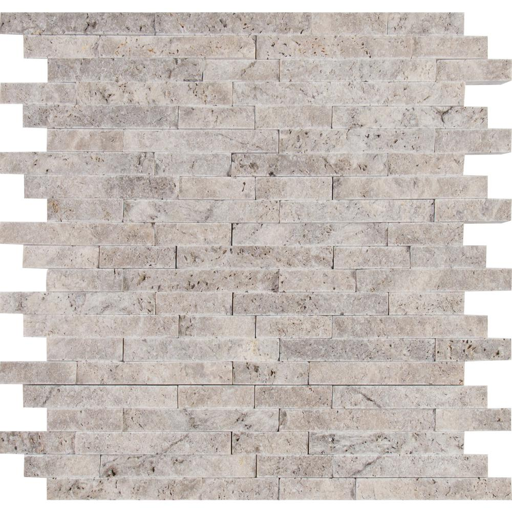 MSI Silver Splitface 11.81 in. x 12.4 in. x 10mm Travertine Mesh-Mounted Mosaic Wall Tile