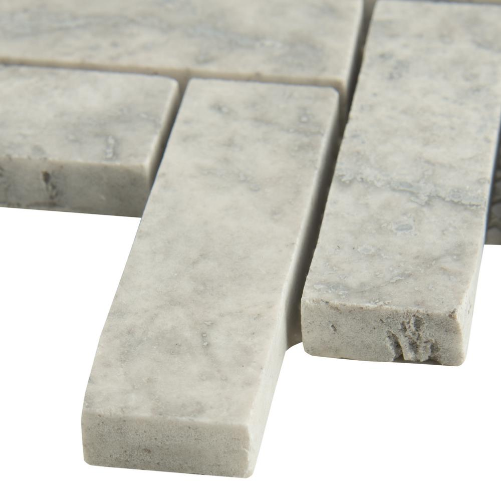 MSI Silver Travertine Herringbone 12 in. x 12 in. x 10mm Honed Travertine Mesh-Mounted Mosaic Tile (10 sq. ft. / case)