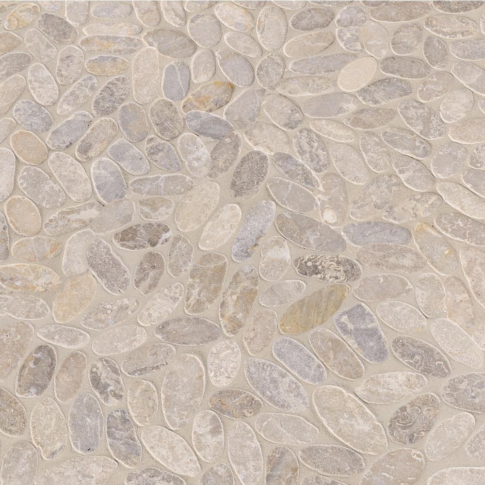 MSI Sliced Pebble Ash 12 in. x 12 in. x 10mm Tumbled Marble Mesh-Mounted Mosaic Tile (9.7 sq. ft. / case)