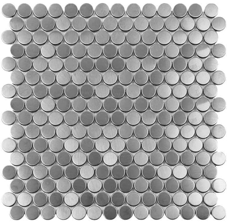 Stainless Steel Penny Round Mesh-Mounted Metal Mosaic Tile - Free Shipping