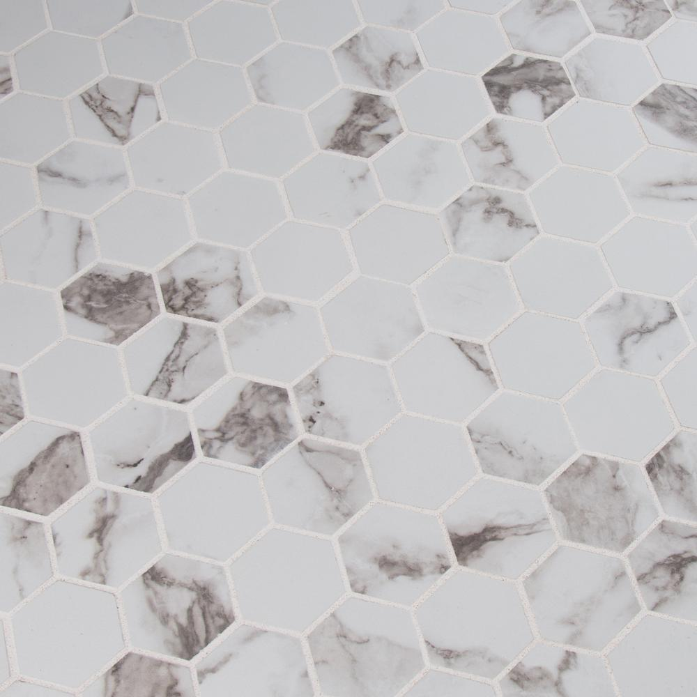 MSI Statuario Hexagon 12 in. x 12 in. x 10mm Glazed Porcelain Mesh-Mounted Mosaic Tile