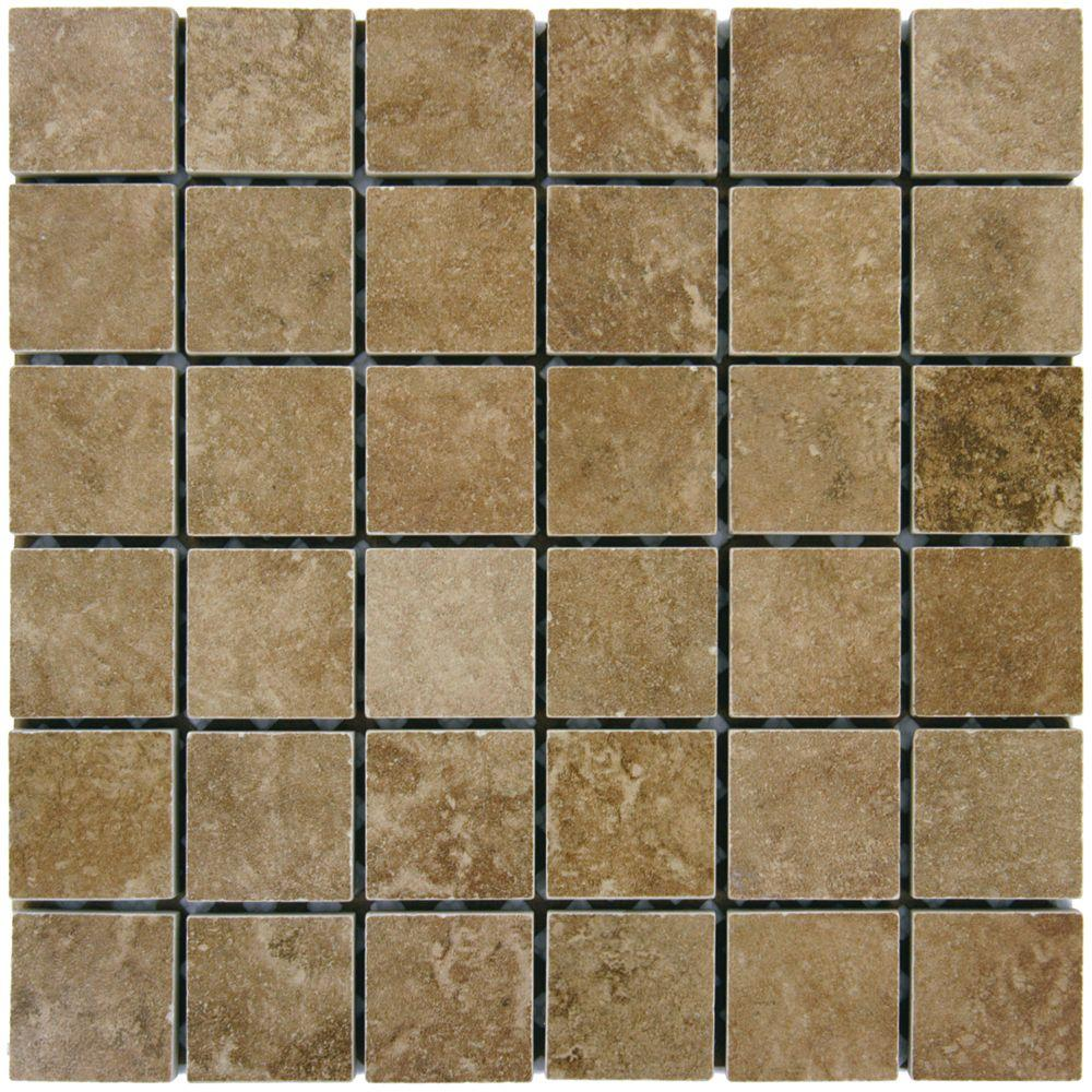 MSI Travertino Walnut 12 in. x 12 in. x 10mm Porcelain Mesh-Mounted Mosaic Floor and Wall Tile (8 sq. ft. / case)