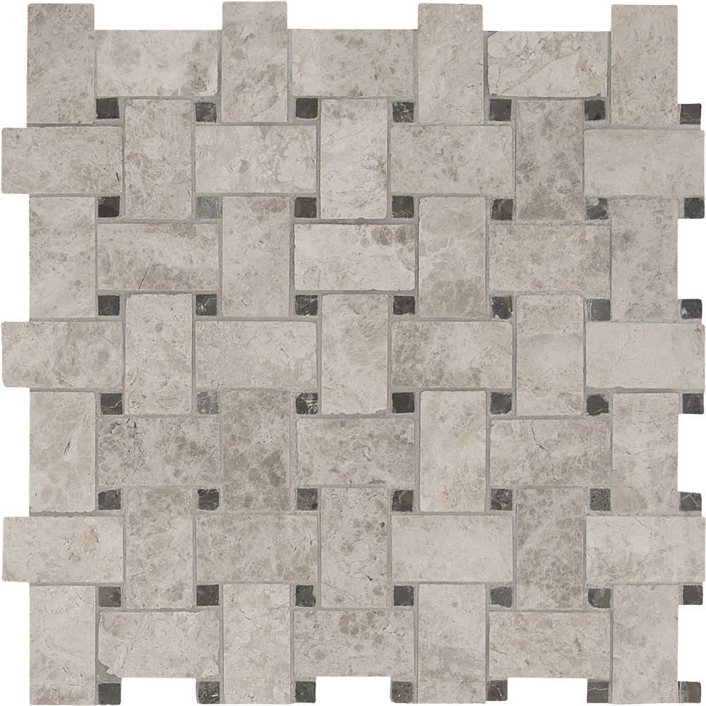 MSI Tundra Gray Basketweave 12 in. x 12 in. x 10mm Polished Marble Mosaic Tile