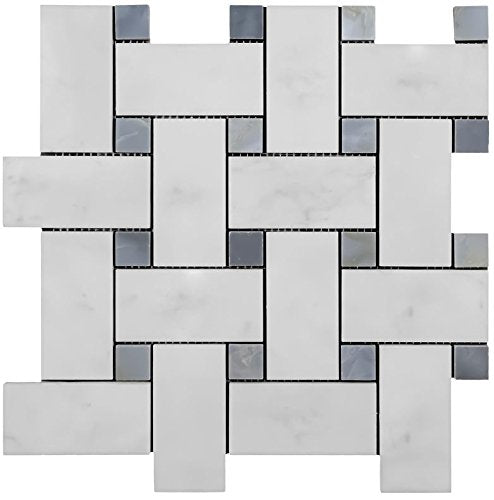 Vogue Carrara Marble Italian White Bianco Carrera Large Size Big Basketweave Mosaic Tile with Bardiglio Gray Dots Honed Designed in Italy (12x12)