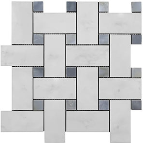 Carrara Marble Italian White Bianco Carrera Large Size Big Basketweave Mosaic Tile with Bardiglio Gray Dots Honed for Kitchen Backsplash Bathroom Flooring Shower Surround Dining Room Entryway Corrido Spa  - Free Shipping