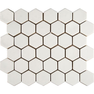 MSI Whisper White Hexagon 12 in. x 12 in. x 8mm Ceramic Mesh-Mounted Mosaic Tile (10 sq. ft. / case)