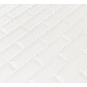 MSI Whisper White Beveled 12 in. x 12 in. x 10mm Ceramic Mesh-Mounted Mosaic Wall Tile (10 sq. ft. / case)
